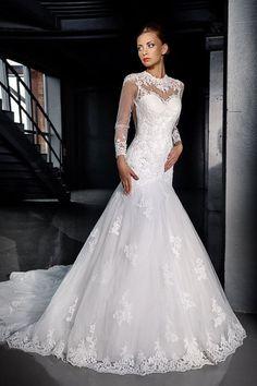 Long Sleeve Mermaid Bridal Gown Wedding Dress Custom Size 2 4 6 8 10 12 14 16 18