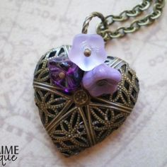 MON COEUR II - Scent Locket Necklace with filigree antiqued brass