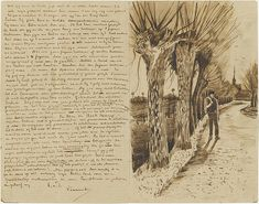 Road with a man and pollard willows - October 1881 (175) by peacay, via Flickr