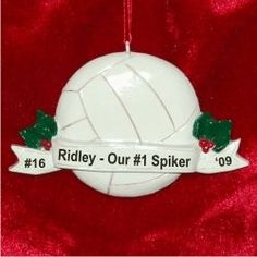 Volleyball with Banner - Personalized Ornaments for Boys & Girls