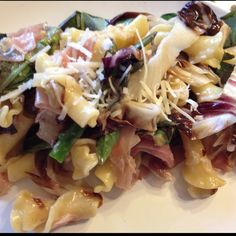 campanelle pasta with radicchio, asparagus, basil, parmesan, and prosciutto