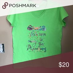 Let's run away to the mountains!! New!! Let's run away to the Mountains!! Beautiful print!! Can add name at no additional cost! Ready to go. Will be ironed again before packing. All my shirts are new! Tops Tees - Short Sleeve