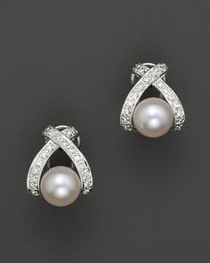 "Cultured Pearl ""X"" Earrings with Diamonds, 7mm"