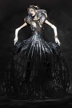 Cage Dress - dark fashion with experimental use of materials; sculptural fashion design // Arachne by Malgorzata Dudek