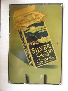 Vintage Tin Sign For Silver Cloud Cigarettes