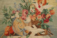 Stuning-Handmade-Tramme-Needlepoint-Canvas-Tapestry-Pigeons-Flowers-No-Wool-Pack