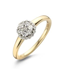 Deze entourage ring van Diamond Point is vervaardigd uit 14 karaat wit- en geelgoud (2.9 gr.) en is gezet met 21 briljant geslepen diamanten met een totaalgewicht van 0.27 ct.