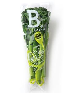 """The wildsalad branding has been extended to wrap itself around their new product of B Baby Broccoli. Hinting that the character doesn't want to give up it's tasty find."""