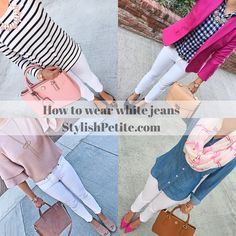 How to wear white jeans collage