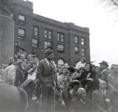 JFK in front of the Kane County Courthouse in my hometown of Geneva, IL. This was taken a month before he was elected president.