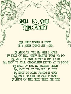 Spell to Gain Employment