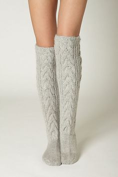 Thermic Bliss Socks from Anthro. Love knee high cable knits with brown boots. But make your own from old sweater sleeves. Easy Peasy.