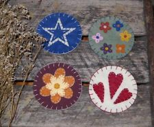 Set of 4 Primitive Felted Wool Penny Rugs ~ Coasters ~ Heart Flowers Candle Mats