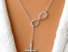 Style: RomanticMaterial: AlloyColor: SilverNecklace is a romantic way to express your love and a stylish addition to your outfit.This Cross Necklace features a chain linked with two pendants in antiqu..