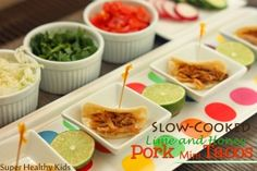 Slow Cooked Honey and Lime Pork Mini Tacos | Healthy Ideas for Kids #healthyfastfood #slowcooker #kidsmeals