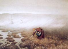 Theodor Kittelsen - Prinsessen som sanker myrull