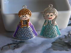 Anna & Elsa Pendant with Rhinestones You Choose Anna Elsa or Both Girl Necklaces Key Chains Zipper Pulls Christmas Ornaments Jewelry Holiday by HouseofHairDecor on Etsy