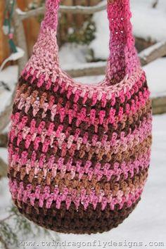 Pink & Brown Market Tote: free crochet pattern link ༺✿ƬⱤღ  http://www.pinterest.com/teretegui/✿༻