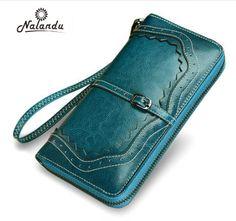 Loune Week Women Cow Leather Retro Passport Wallet Purse Vintage Coin Bag Red