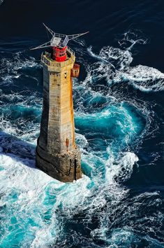 Le Phare du Nividic, the most west of metropolitan France.  From the platform for helicopter, there are only the superstructure, the top of the lighthouse has been redesigned to accommodate solar panels in 1996.