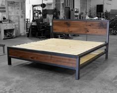 This is the listing for the Queen size canopy bed in the Kraftig style.  The frame is a 2x3 steel tube sealed with a durable wax. The head and foot boards are filled with 1 thick walnut boards which have an oil applied to harden and seal. Head and footboard heights are adjustable to line up with your combined mattress and box spring measurements. 2 cross pieces that are not shown are also included. They have feet for extra support. The canopy side pieces are removable. The uprights on the…
