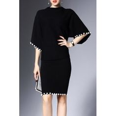 Shop joy&joso black beaded sweater and bodycon skirt here, find your sweater dresses at dezzal, huge selection and best quality. Suits Outfits, Mode Outfits, Dress Outfits, Sweater Dresses, Skirt Fashion, Fashion Dresses, Fashion Clothes, Black Women Fashion, Womens Fashion
