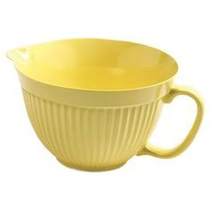 "Handled mixing bowl with a pour spout.  Product: Mixing bowlConstruction Material: MelamineColor: YellowFeatures:  Built in spout and handle5 Quart capacity Dimensions: 9.5"" H x 9.5"" W x 6.3"" DCleaning and Care: Dishwasher safe"