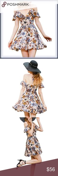 Halter Backless Falling Leaves Swing Dress ➖SIZE: Small, Medium, XL/1X  ➖STYLE: A fit and flare Backless swing dress with a halter neckline. The design has a gorgeous pattern of Floral falling leaves   ❌NO TRADE   764809 sexy club Dresses
