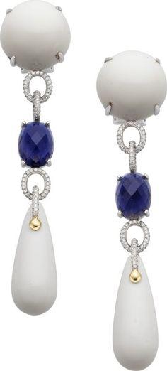 Estate Jewelry:Earrings, Diamond, Iolite, Porcelain, White Gold Earrings. ...
