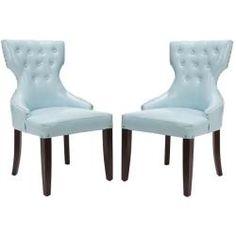 Safavieh En Vogue Dining Aqua Tufted Nailhead Blue Leather Dining Chairs   Set of 2  by SafaviehDelaney Aqua Reclining Sofa   Couches   Pinterest   Aqua  Sofas  . Aqua Leather Accent Chair. Home Design Ideas