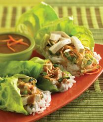 Lettuce rolls with peanut sauce (I'll used chicken not tofu)...easy to make ahead while preparing dinner the night before
