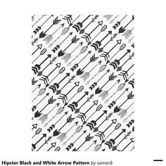 Hipster Black and White Arrow Pattern Fleece Blanket