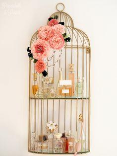 Upcyckled Perfume shelf out of birdcade shelf by Anna. #diy
