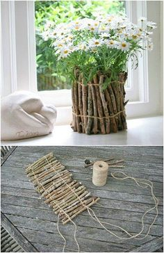 Easy DIY Rustic Vase craft kids can make. A great budget Home Decor Garden gift idea you can do for Mother's Day, GrandMother, or Grauntie. #MothersDay #GiftIdeas #FarmhouseDecor Diy Garden Projects, Diy Projects To Try, Diy Home Decor Projects, Mason Jar Diy, Mason Jar Crafts, Wine Bottle Crafts, Diy Hanging Shelves, Diy Wall Shelves, Floating Shelves Diy