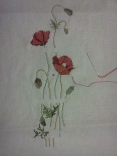les fleurs brodés