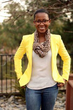 I'm sensing a pattern (haha) bright blazer / white T / leopard scarf / distressed denim