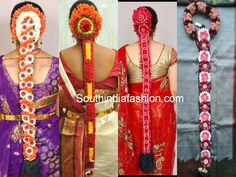 South Indian Floral Bridal Hair Styles – Flowers are an integral part of Indian weddings and a bridal hairstyle would be incomplete without floral adornments. Flowers add a soft touch to Bridal Hairstyle Indian Wedding, South Indian Bride Hairstyle, Indian Bridal Hairstyles, Bride Hairstyles, Floral Wedding Decorations, Hair Decorations, Garland Wedding, Bridal Hair Flowers, Wedding Flowers