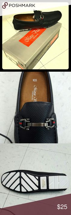 Mens black perforated loafer Mens black perforated loafer, pewter accessory, white outsole, size 10.5 Marco Vitale Collezione  Shoes Loafers & Slip-Ons
