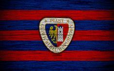 Download wallpapers Piast Gliwice, 4k, Ekstraklasa, wooden texture, football, Poland, Piast Gliwice FC, soccer, football club, FC Piast Gliwice