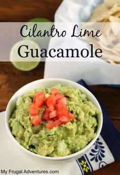 Delicious Cilantro Lime Guacamole.  So easy to make-- perfect for parties!