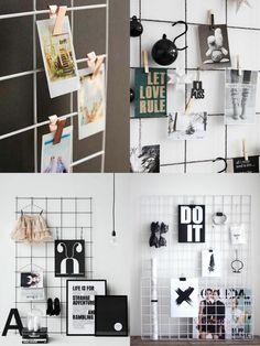Tela Aramada: 29 inspirações para o seu mural de inspirações Wire grid wall…