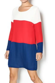 Featuring ivory,deep red and navy color blocks, this dress is fully lined with long sleeves and a keyhole button back.   Americana Shift Dress by Pink Owl. Clothing - Dresses - Long Sleeve Clothing - Dresses - Casual Columbus, Ohio