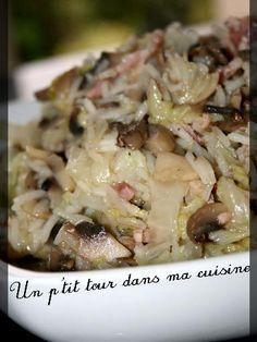 poivre, riz, champignon de Paris, oignon, cube de bouillon, chou chinois, sel