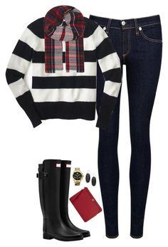 """Striped sweater, tartan scarf & Hunter boots"" by steffiestaffie ❤ liked on Polyvore featuring rag & bone/JEAN, J.Crew, Hunter, Johnstons, Tory Burch, Kendra Scott and Michael Kors"