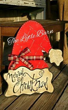 Santa's Hat door hanger. Handpainted. Christmas decor