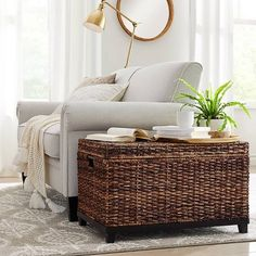 Cream & Gray Traditional Living Room With Practical Decorative Trunks Collection - Threshold™ : Target Decorative Trunks, Decorative Storage, Wicker Trunk, Wicker Storage Trunk, Wicker Baskets, Storage Baskets, Blanket Storage, Brass Floor Lamp, Brass Lamp