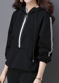 Kangaroo Pocket Zipper Front Black Drawstring Hoodie  on sale only US$32.25 now, buy cheap Kangaroo Pocket Zipper Front Black Drawstring Hoodie  at liligal.com
