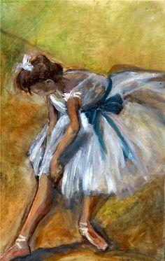 Edgar Degas - Ballerina. K dacht ik doe wat meer schilderijen van ballerina's in mijn artistieke familie. Aangezien ik mijn inspiratie voor de jurk hieruit wil halen. Dit is wel de kleur die ik het liefst wil en ook de techniek die hier is gebruikt vind ik mooi!De schilderkunst van Degas behoorde tot het impressionisme en realisme.