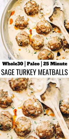 TURKEY SAUSAGE MEATBALLS IN SAGE CREAM SAUCE Unbelievably easy oven baked Paleo turkey meatballs and sage cream sauce. (Gluten free, whole30, paleo). Perfect for a weeknight dinner or breakfast! On the table in LESS than 25 minutes!