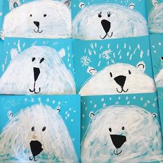 One more Polar bear lesson- this time for Kindergarten- close up baby cubs! Did … One more Polar bear lesson- this time for Kindergarten- close up baby cubs! Did these today – watched cute videos and looked at lots of… Bear Crafts Preschool, Kindergarten Art Projects, Polar Bear Crafts, Winter Art Kindergarten, Arte Elemental, Artic Animals, Baby Cubs, Bear Theme, Bear Art